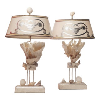 21st C. Coral Lamps - a Pair For Sale