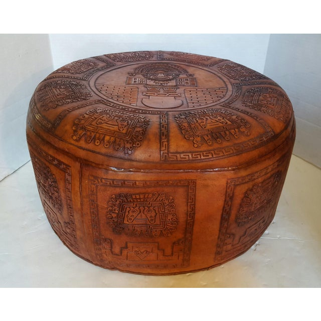 Peruvian Brown Leather Pouf - Image 2 of 4