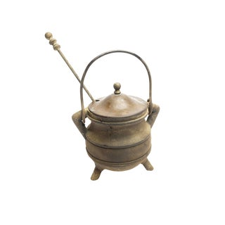 Antique Cast Iron Fire Starter Cauldron & Pumice Wand For Sale