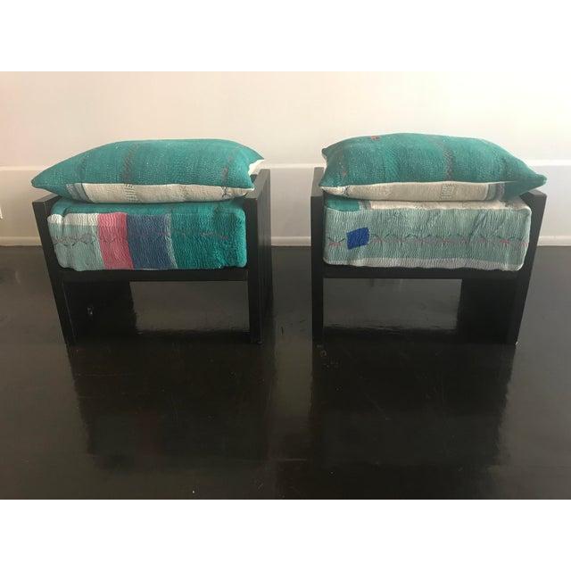 Modern Modern Custom Katha Quilt Pillows Stool Set- A Pair For Sale - Image 3 of 13