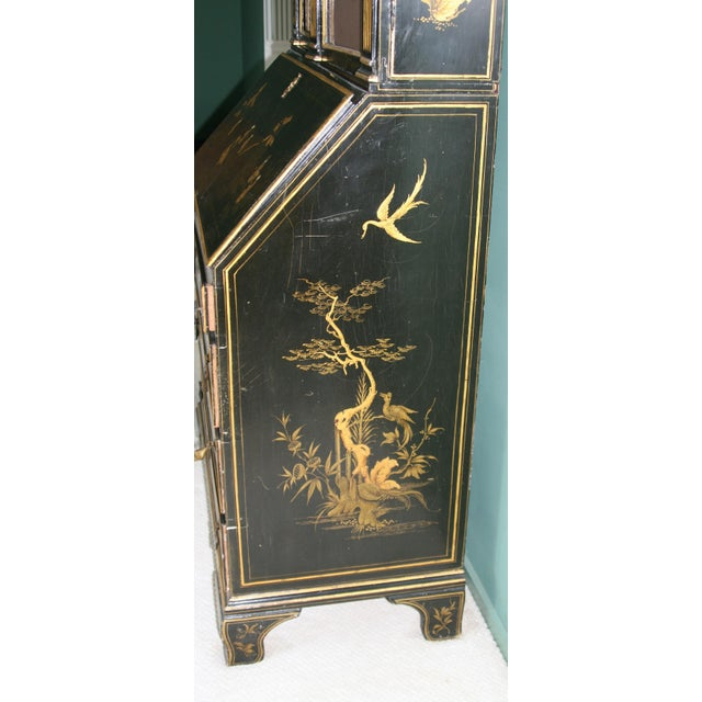 1900s Queen Anne Style Chinoiserie Gold Secretary Desk For Sale - Image 12 of 13