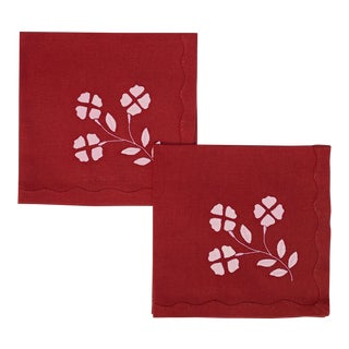 Matisse Dinner Napkins, Red and Pink, Set of 2 For Sale