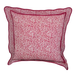 Pink and Red Ditsy Floral Euro Sham For Sale