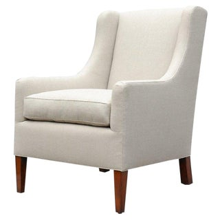 """Alfie"" by Lee Stanton Upholstered Arm Chair in Belgium Linen or Custom Fabric For Sale"