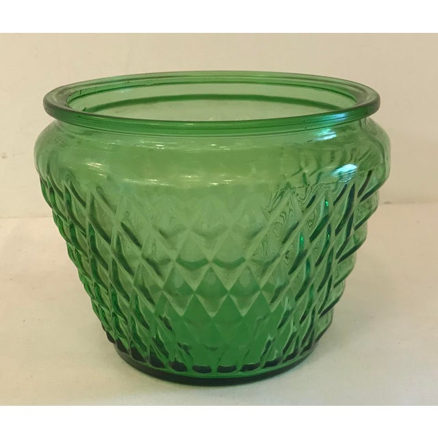 Mid Century Green Glass Patterned Vase/Planter For Sale - Image 4 of 8