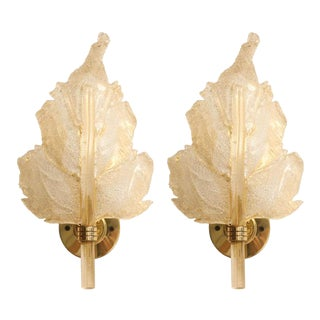 Mid-Century Modern Barovier & Toso Italian Murano Wall Sconces - a Pair For Sale