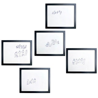 Framed Gestural Figure Drawings by Paul Chidlaw - Set of 5 For Sale