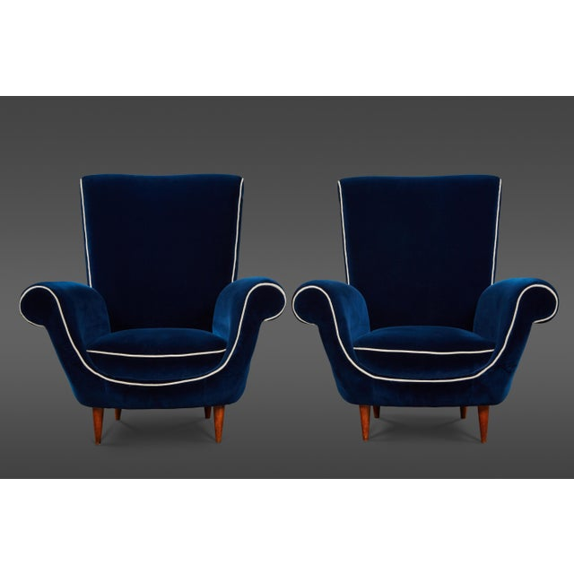 Blue Pair of Ico Parisi Attributed Blue Velvet Armchairs For Sale - Image 8 of 8