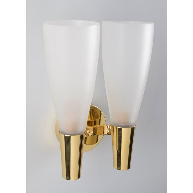 1930s Pair of Modernist Sconces by Pietro Chiesa for Fontana Arte in Bronze and Glass, Italy 1930's For Sale - Image 5 of 8