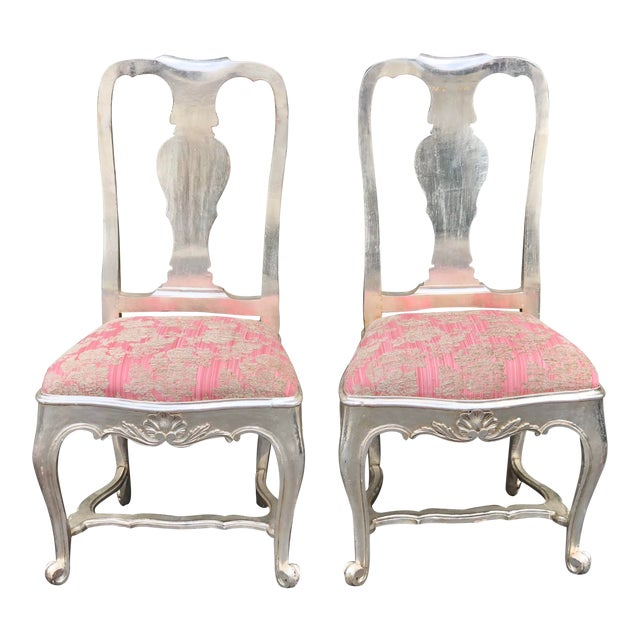 Antique George III Silverleaf & Pink Velvet Side Chairs - a Pair For Sale