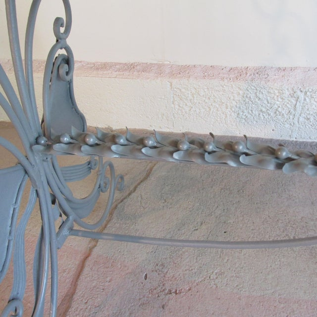 Antique French Garden Console Table With Marble Top For Sale - Image 4 of 13