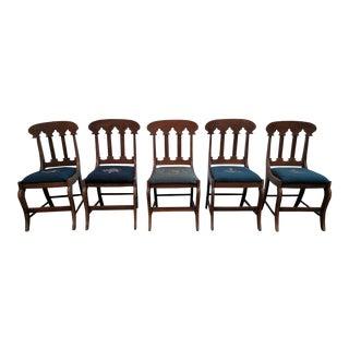 Antique Hepplewhite Style Mahogany Side Chairs - Set of 5