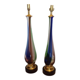 Mid-Century Murano Lamps - a Pair For Sale