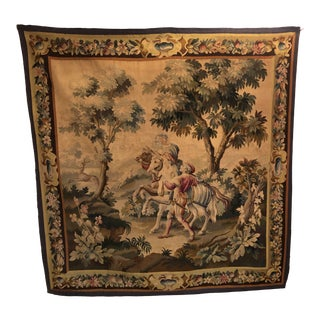 19th Century French Verdue Wood Handwoven Tapestry For Sale