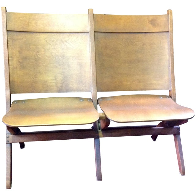 Vintage Wooden Theatre Seats - Image 1 of 6