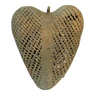 Vintage African Oxidized Bronze Hanging Mesh Design Heart For Sale