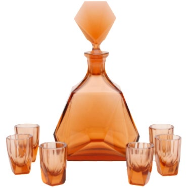 Art Deco Decanter With Six Matching Glasses For Sale