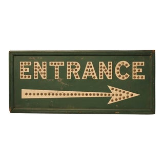 "1930s Double Sided Reflective Marbles ""Entrance"" Sign For Sale"
