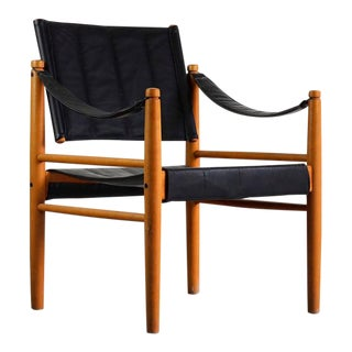Safari Chair in Oak and Leather For Sale