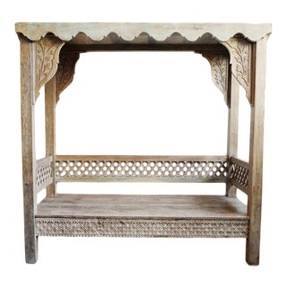 Carved Teak Canopy Bench For Sale