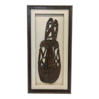 Hand Carved African Sculpture, Mounted and Framed For Sale
