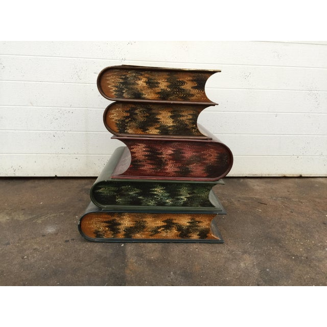 Italian Metal Tole Painted Book Stack Table For Sale In Philadelphia - Image 6 of 9