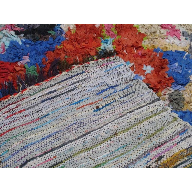 """White Moroccan """"Boucherouite"""" Rug For Sale - Image 8 of 9"""