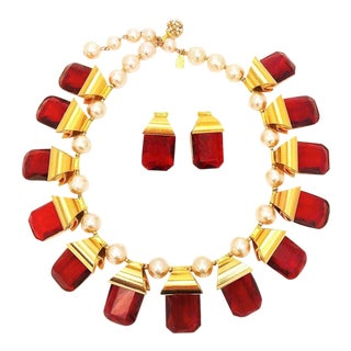 William DeLillo Gold Pearl and Large Ruby Stone Necklace and Earrings For Sale