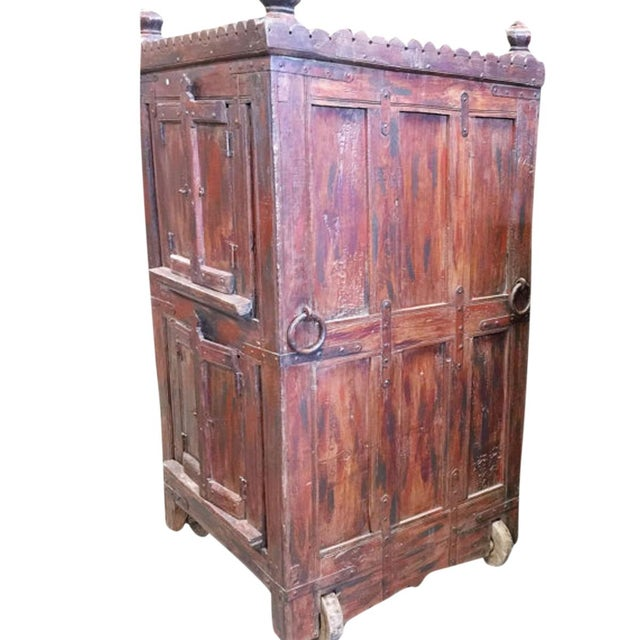 Antique Bar Almirah Red Cabinet Vintage Indian Armoire on Wheels For Sale - Image 4 of 4