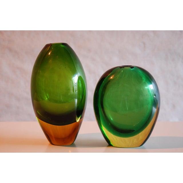 Mid-Century Modern Circa 1950 Flavio Poli Murano Green & Yellow Glass Vase for Seguso Vetri d'Arte For Sale - Image 3 of 5