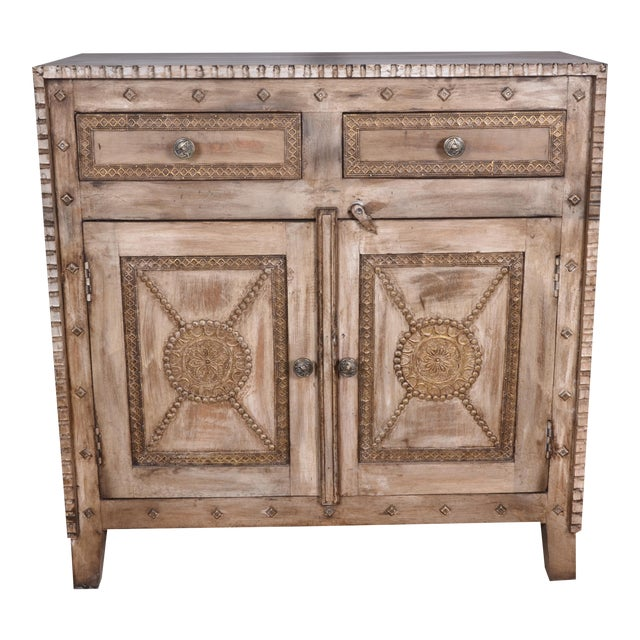 Rustic Style Two Drawer Mango Wood Cabinet/ Sideboard - Image 1 of 6