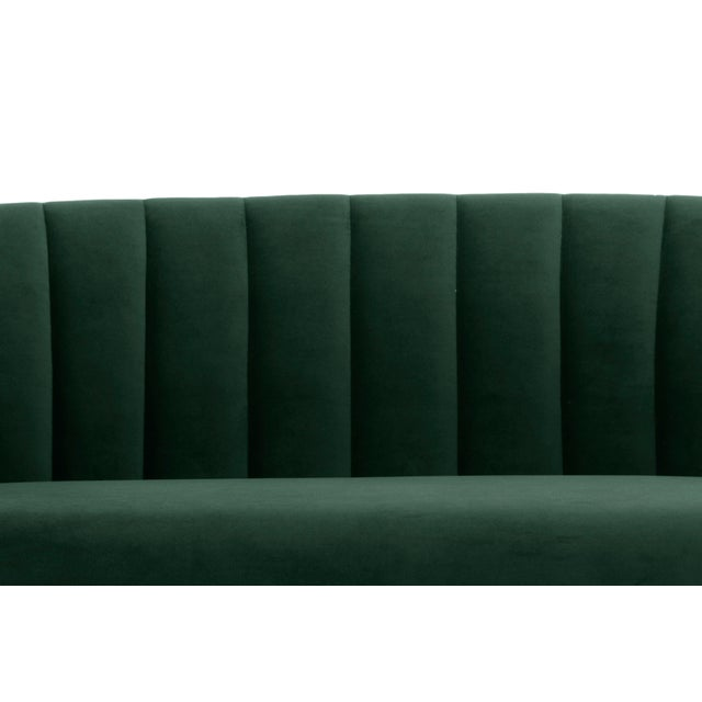 Contemporary Dark Green, Brushed Brass Channeled Settee For Sale - Image 3 of 6
