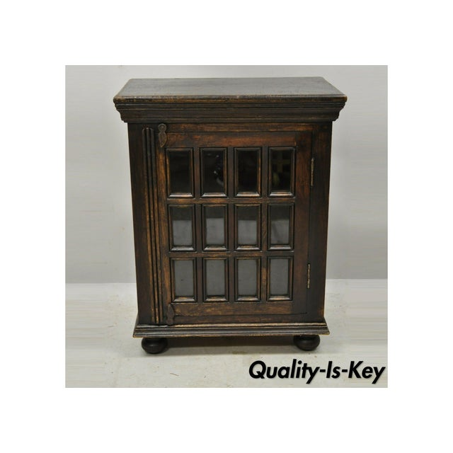 Vintage British Colonial Style Small One Door Wooden Curio Display Cabinet For Sale - Image 12 of 12