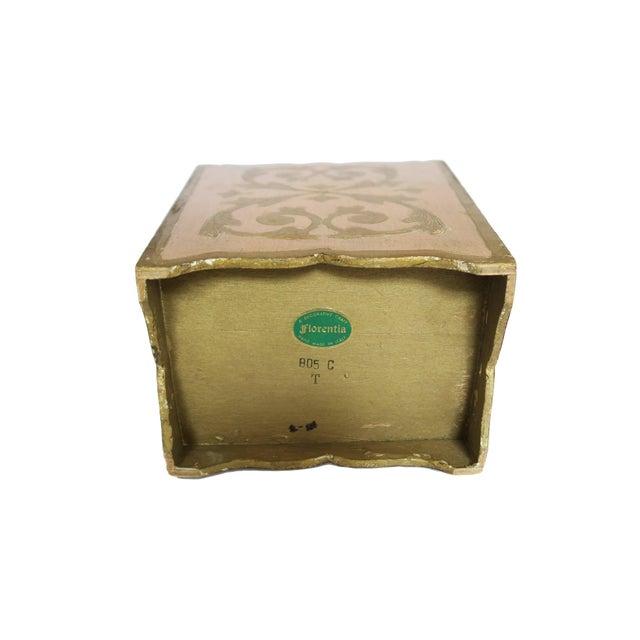Vintage Florentina Italy Italian Light Pink and Gold Waste Basket Trash Can Bin For Sale - Image 5 of 5