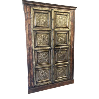 Antique Farmhouse Rustic Hand Carved Brass Wine Chest Wardrobe Cabinet For Sale