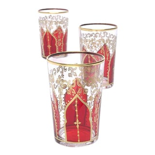Tamansour Red Tea Glasses - Set of 6 For Sale