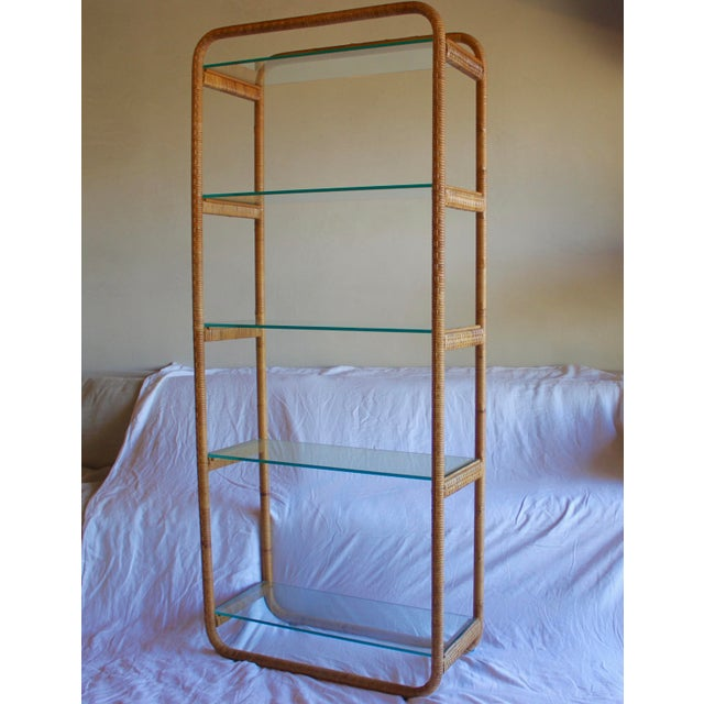 1970s Vintage Milo Baughman Style Italian Rattan Wrapped Cane Bookcase Etagere Wall Unit For Sale - Image 13 of 13