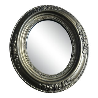 Vintage English Traditional Brass Oval Mirror For Sale