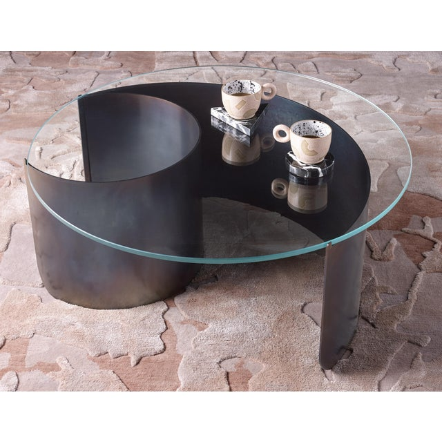 Kin & Company Wave Coffee Table in Contemporary Heat Tempered Steel and Starfire Glass For Sale - Image 4 of 6