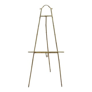 Vintage Faux Bamboo Gold Metal Standing Floor Easel For Sale