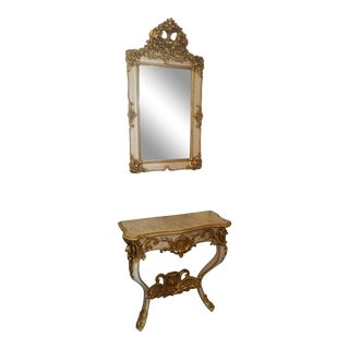 Antique French Classic Console & Mirror Set For Sale