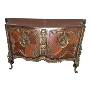 1980s Art Deco Wood and Inlay Bronze Green Marble Top Commode For Sale