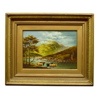 19th Century Cattle by a Stream Oil Painting For Sale