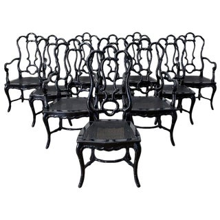 Set of Ten Hollywood Regency Faux Bamboo Dining Chairs For Sale
