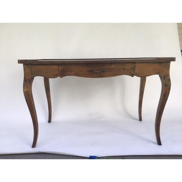 Handsome single drawer Louis XV-style French Provincial stained wood writing table or bureau plat.