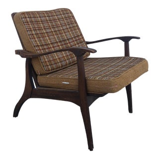 Mid Century Modern Walnut Lounge Chair With Vintage Upholstery For Sale