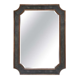 James Faux Shagreen Wood Wall Mirror by Made Goods For Sale