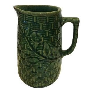 1960s Tall Textured Dark Green Basketweave Ceramic Jug For Sale