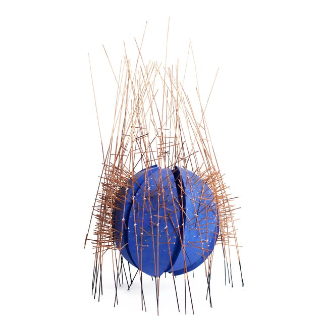 Kinetic 20th Century Irving Harper Kinetic Round Blue Geometric Sculpture For Sale - Image 7 of 7