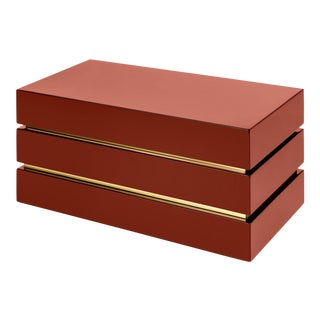 Flair Collection Banded Rectangular Box in Cinnabar / Brass For Sale